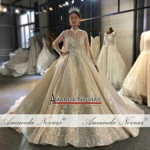 Image 2 - فستان زفاف طويل الأكمام عالي الجودة مطرز بالخرز 100% عمل حقيقي مطابق للصورة