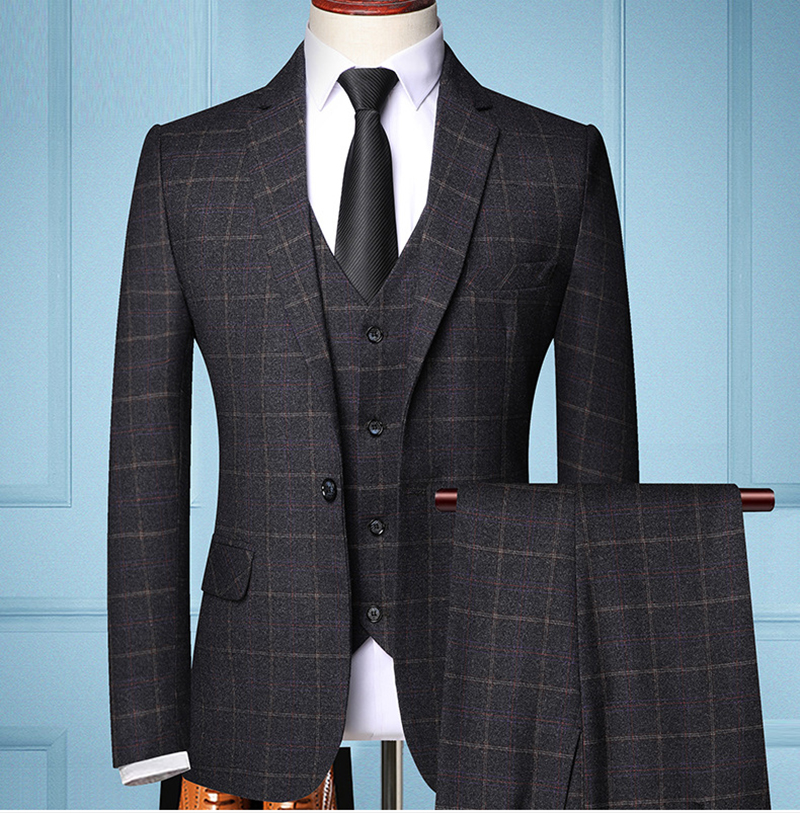 Mens Three-Pieces Slim-fit Suits