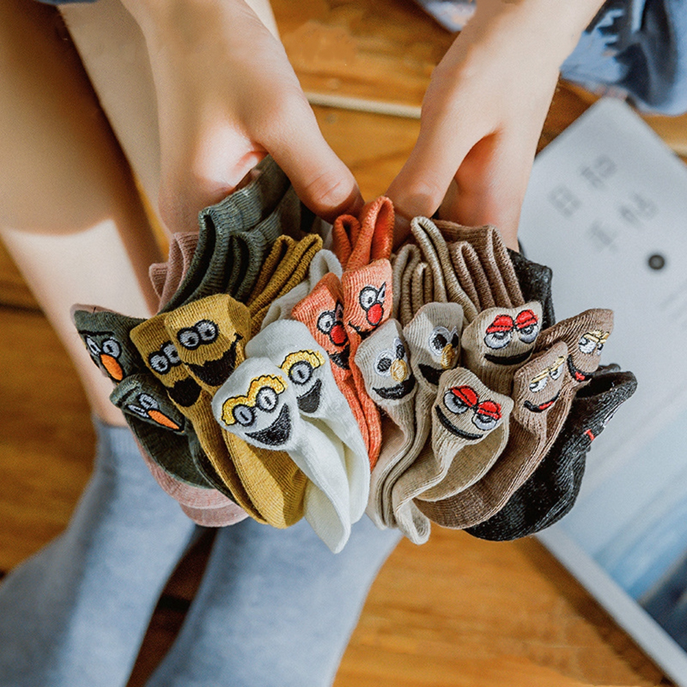 1 Pair of Shallow Mouth Korean Japanese Smiling Face Socks Embroidered Funny Socks Couple Ship Socks Funny Socks Men and Women