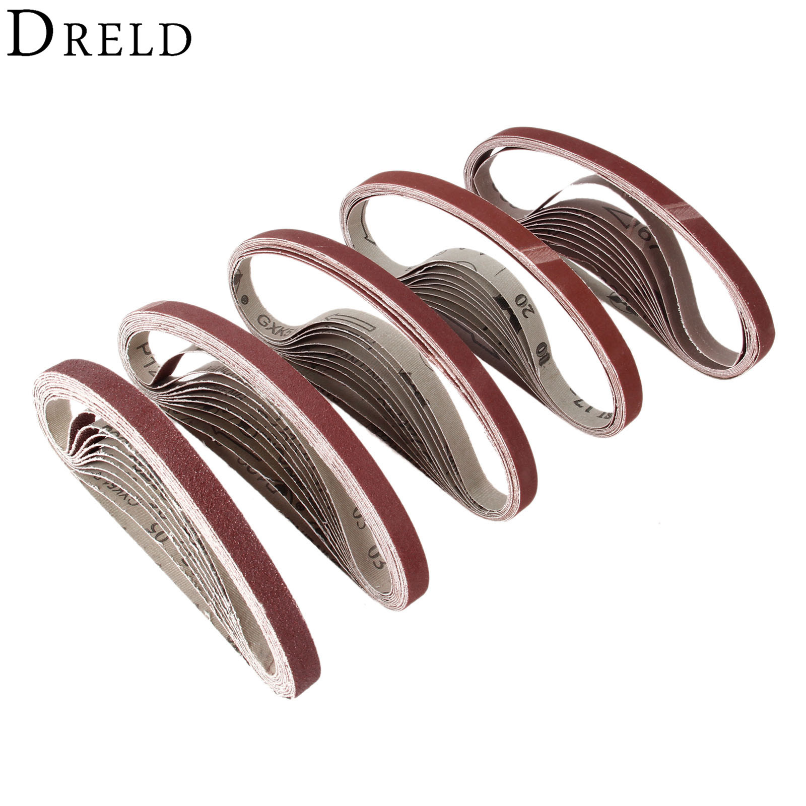 DRELD 10Pcs Dremel Accessories 15x452mm Abrasive Sanding Belt Grit 60-600 Sander Grinder Belt For Drill Grinding Polishing Tool
