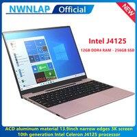 2021 NEW Metal Laptop 13.9 Inch 3000x2000P 3K IPS Intel J4125 CPU Notebook 12G+256GB SSD Computer PC Webcam WIFI 1.8KG 5000mAh 1