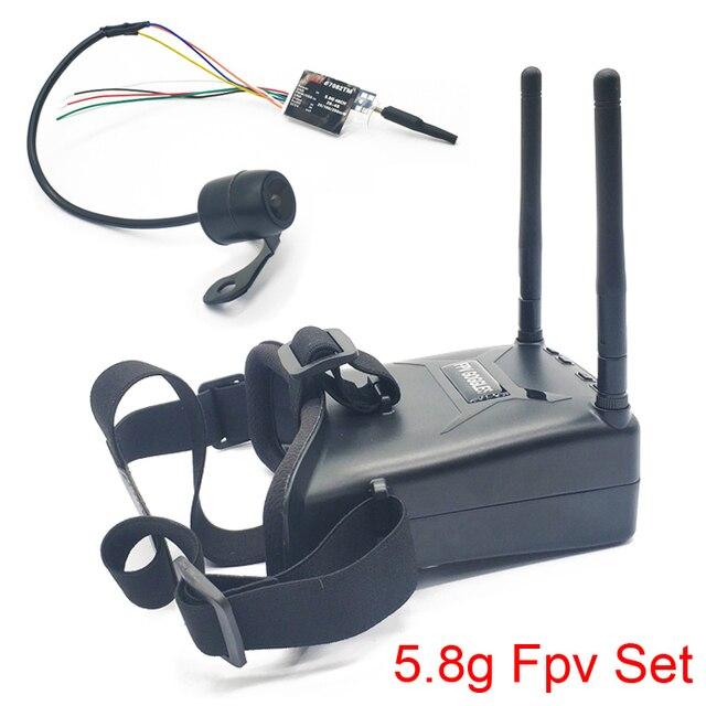 5.8G 48CH VR005 2.7 inç 960*240 FPV gözlük ile 25/100/200mW verici başlatıcısı + Fpv Mini kelebek kamera FPV Drone için