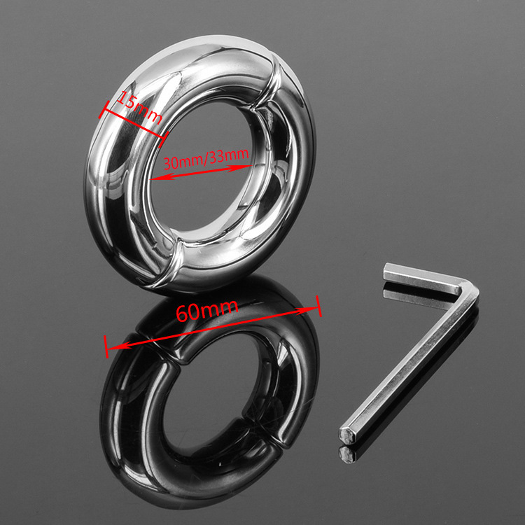 Male Round Extreme Heavy Metal Cock Rings Stainless Steel Ball Stretcher Scrotum Bondage Device Testicle Stretcher Ball Weight