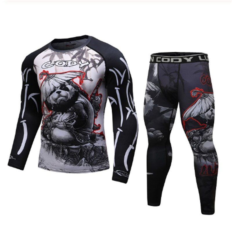 Men's Gym Bodybuilding Tights Sports Suit Quick-drying Breathable Muay Thai Boxing Competition Sportswear Compression Running Se