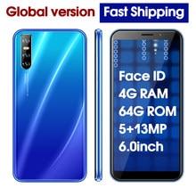 Téléphone portable Y7 Quad core débloqué, écran de 6.0 pouces, smartphone, 4 go de RAM, 64 go de ROM, caméra de 5mp et 13mp, reconnaissance faciale, android, 3G, Wifi, bon marché