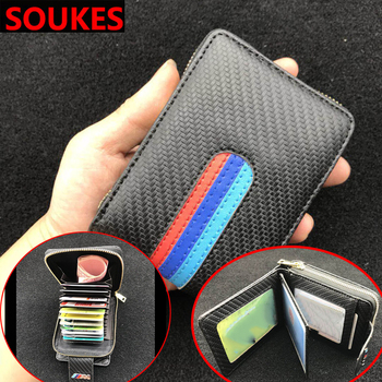 Leather Men's Car Key Wallet Bank Credit Card cover For Hyundai Creta Tucson Volkswagen VW Golf 6 7 GTI Kia Ceed Rio Sportage image