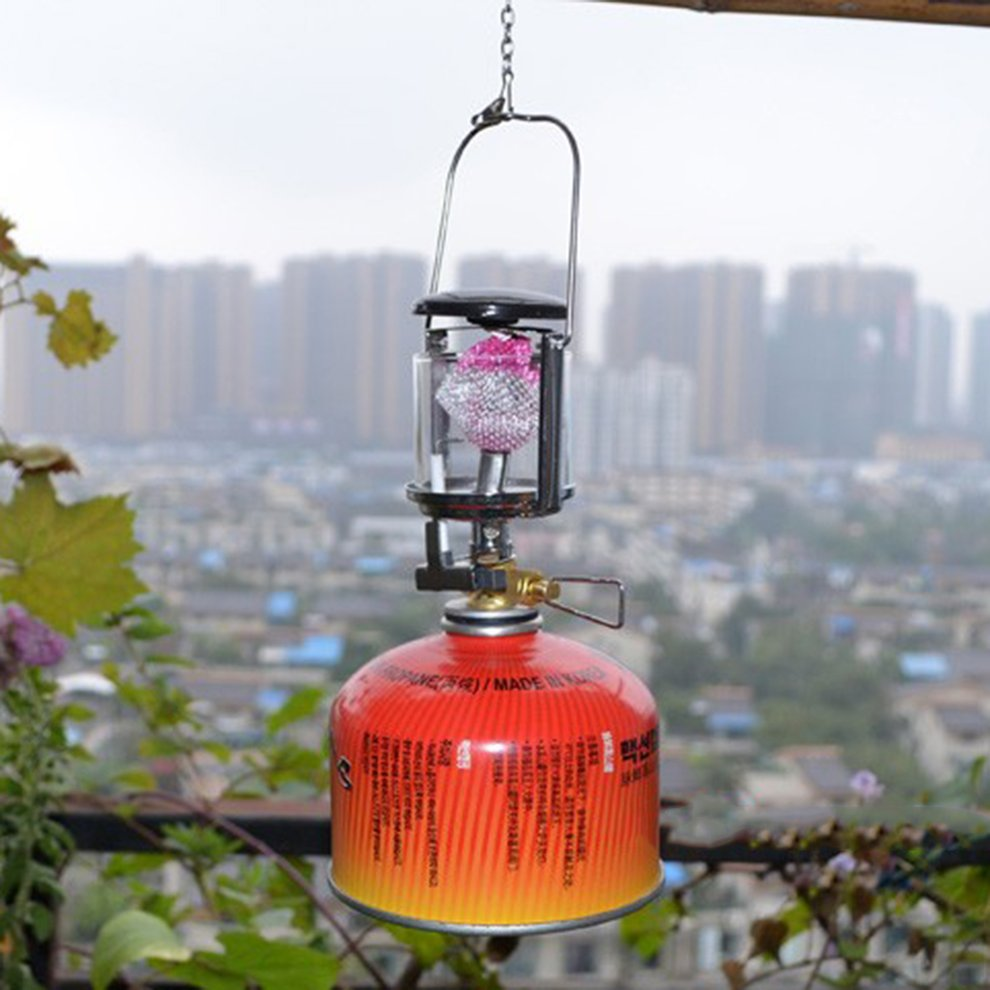Outdoor Mini Camping Lantern Gas Light Windproof Tent Lamp Torch Hanging