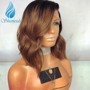 Image 2 - Pelucas frontales de encaje degradado de 13x6 colores cabello brasileño ondulado, Remy, encaje sin pegamento, cabello humano, encaje completo