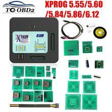 XPROG V5.55 V5.60 V5.84 V5.86 V6.12 черный металлический ящик лучше XPROG M V6.12 ECU программируемый интерфейс Xprog-M 5,84 6,12 ATMEGA64A