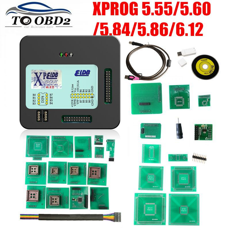 XPROG V5.55 V5.60 V5.84 V5.86 V6.12 Black Metal Box Better XPROG M V6.12 ECU Programming Interface Xprog-M 5.84 6.12 ATMEGA64A