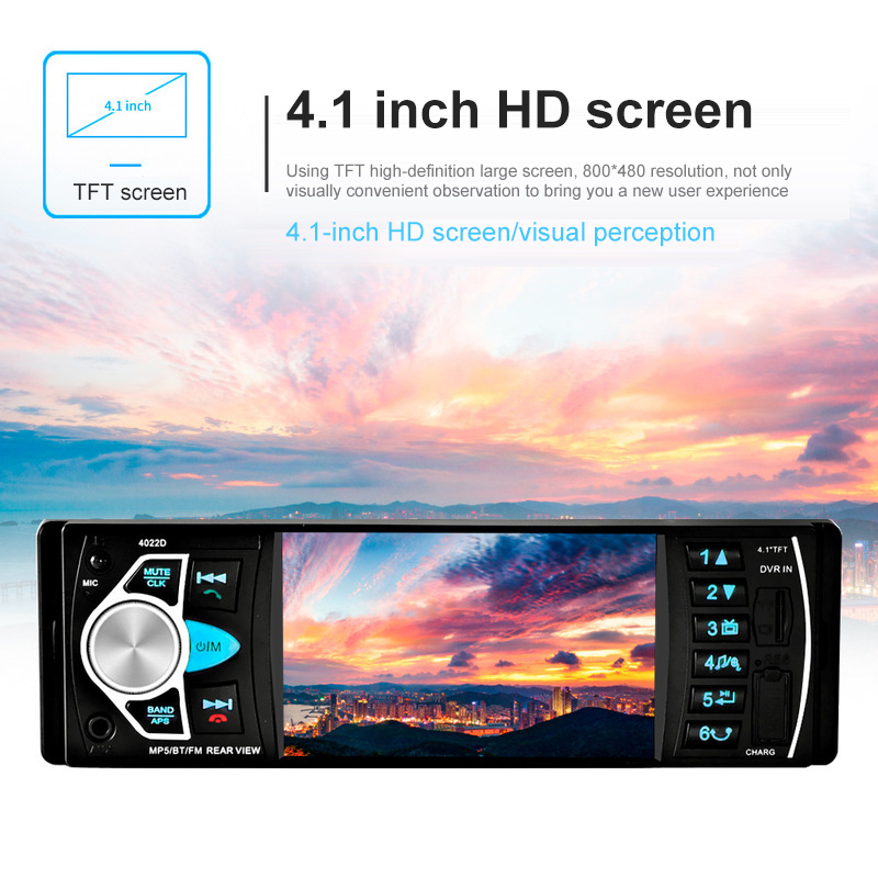 4.1 inch short car audio and video MP5 player reversing square control Bluetooth hands-free calling 4022D Multi-function car MP5 image