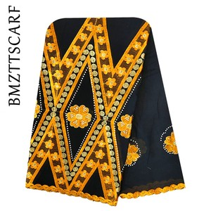 Image 5 - 100% baumwolle Schal Afrikanische Frauen Schals stickerei muslimischen frauen große baumwolle schal für schals BM973