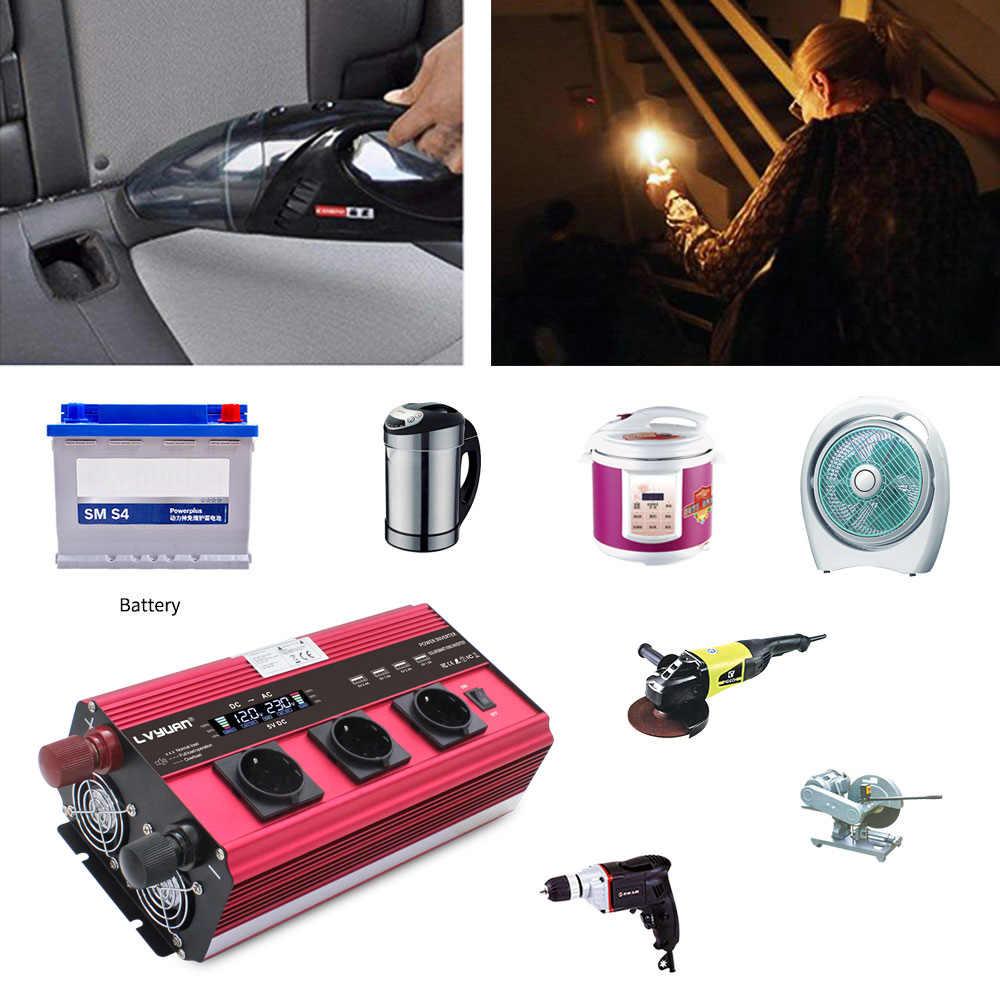 12000W gniazdo ue LCD transformator adapter ładowarka konwerter przetwornica napięcia DC12V/24V do AC 230V z 4Fan 4usb pilot czerwony