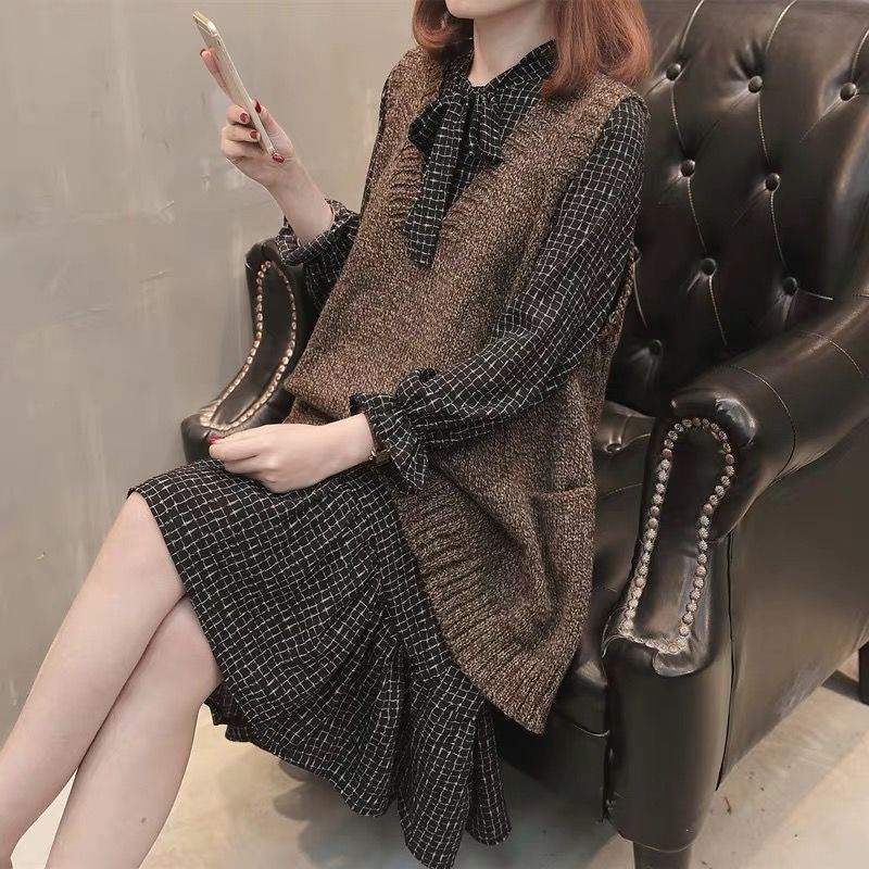 Women Clothing Sets 2019 Autumn&winter New Elegant Women's Long Slim Knitted Vest Chiffon Dress Two-piece Sets