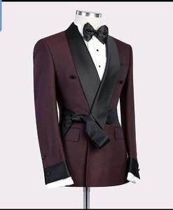 Image 2 - 2019 Mới Burgundy Đỏ Đen Ve Áo nam Slim Fit Form Áo Suông Tự Làm 2 Cái Cưới Tuxedos Phù Hợp Với áo khoác Quần
