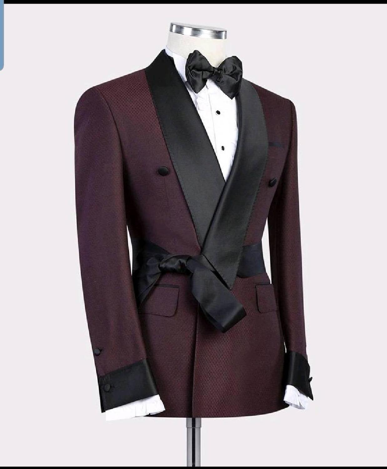 Image 2 - 2019 New Burgundy Red With Black Lapel Men's Slim Fit Formal Suits Custom Made 2 Pieces Wedding Tuxedos Suits Jacket Pants-in Suits from Men's Clothing