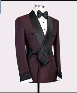 Image 2 - 2019 New Burgundy Red With Black Lapel Mens Slim Fit Formal Suits Custom Made 2 Pieces Wedding Tuxedos Suits Jacket Pants