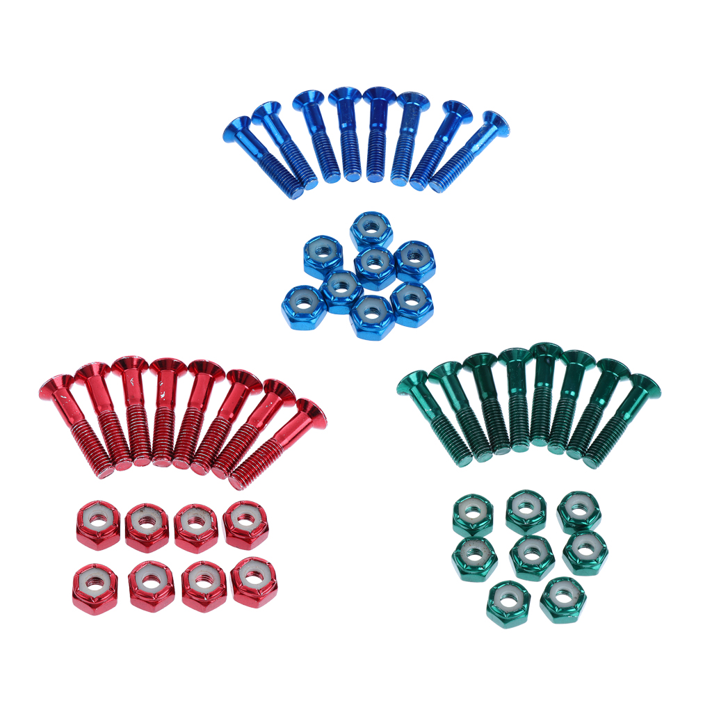 24 Pcs Sturdy Replacement Skateboard Truck Hardware Set Longboard Screws Bolts Flat Head Screws And Lock Nuts