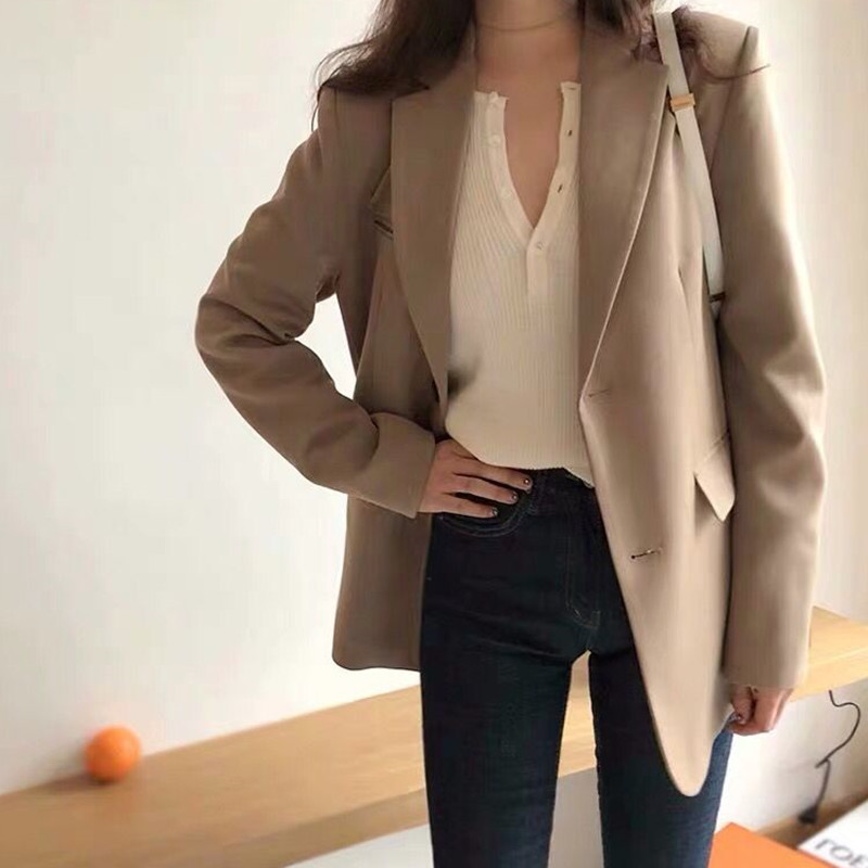 Early spring new small suit jacket female Korean loose British style suit net red female short section
