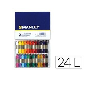 Caja 24 cera blanda de Colores Manley Multicolor
