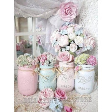 5D DIY Diamant Stickerei Shabby Chic Mason Gläser, blumen Voller Diamanten Malerei Kreuz Stich Mosaik Kit Hand Home Decor Kunst(China)
