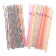 200Pcs Disposable Straws Flexible Plastic Drinking Straws Fluorescent Straws Party Bar Club DIY Drink Straw Bar Accessories