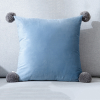 1xThrow Pillow Case Cushion Cover Faux Fur Pom Pom Velvet Fluffy Sofa Decor|  -