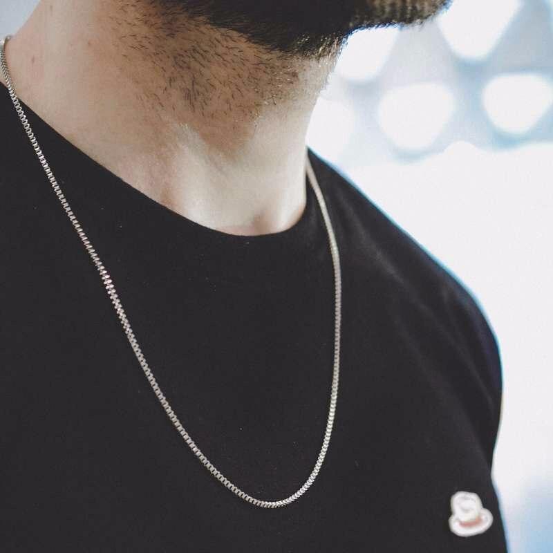 Prata caixa quadrada link e lingote corrente colar para homem gargantilha de aço inoxidável com 21-24 polegadas (2.1mm-5mm de largura)