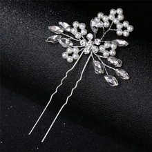 Romantic Crystal Pearl Flower HairPin Bride Hair Jewelry Rhinestone Bridal Crown Hair Pins Wedding Hair Accessories(China)