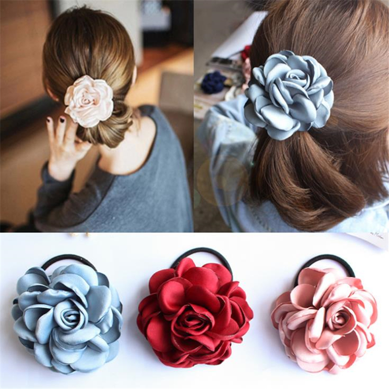 Beauty Hair Rope Camellia Flower Ponytail Holder Scrunchie Hairband For Girls Wedding Party Headwear Hair Accessories