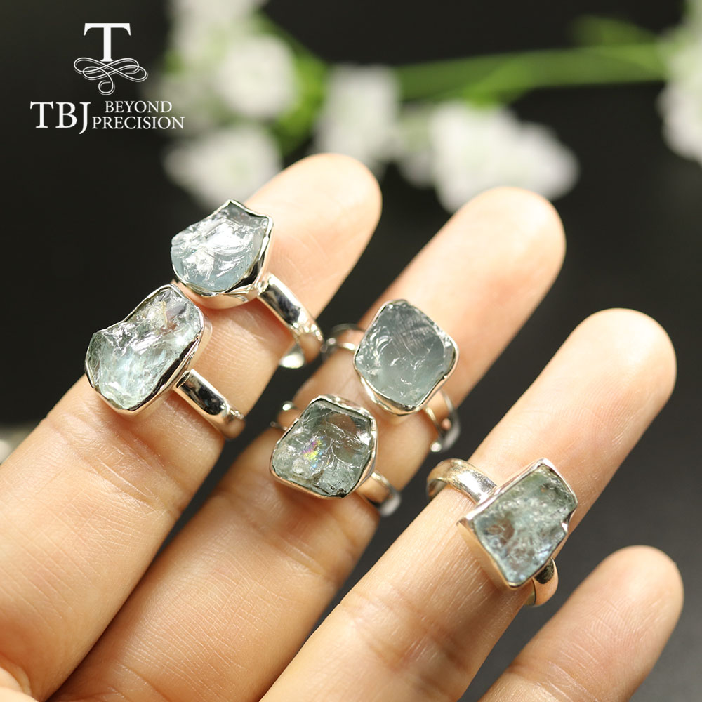 TBJ,2020 New Handmade Aquamarine Ring Natural Gemstone Jewelry 925 Sterling Silver Women Ring Birthstone Jewelry For Girls