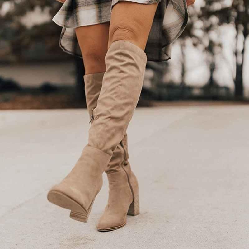 Puimentiua kadın diz-yüksek çizmeler Lace Up seksi yüksek topuklu kadın ayakkabı dantel Up kış çizmeler sıcak boyutu 35 -43 2019 moda çizmeler