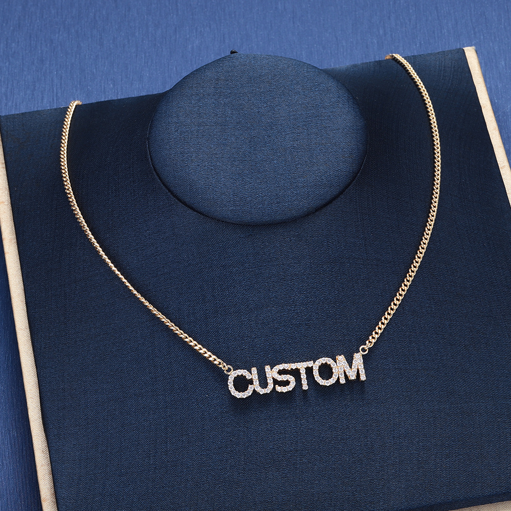 Crystal Pendant Necklace for Women Custom Name Necklace & Pendants Bling Jewelry Iced Out Initial Choker Custom Iced Out Chain