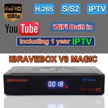 IBRAVEBOX V8 MagicดาวเทียมดิจิตอลH.265 DVB S2 WIFI Receptor Azamericaทีวีจูนเนอร์Cccam IPTVทีวีwifi Receiver
