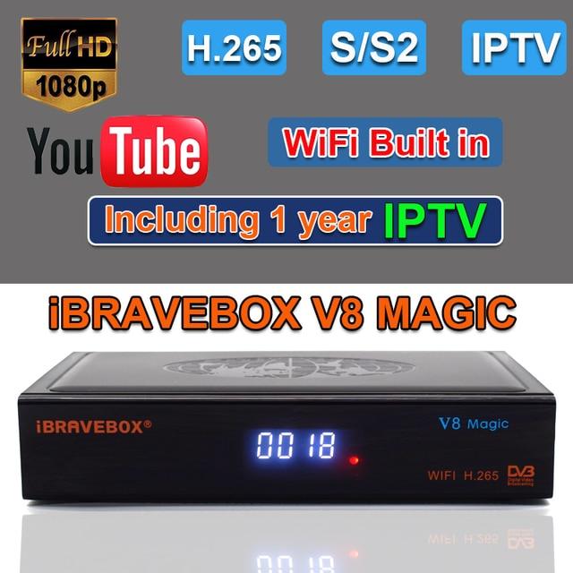Ibravebox V8 Magic Satellietontvanger Digitale H.265 Dvb S2 Ingebouwde Wifi Receptor Azamerica Tv Tuner Cccam Iptv Tv wifi Ontvanger