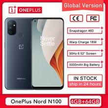 Versão global oneplus nord n100 4gb 64gb smartphone snapdragon 460 90hz 6.52 cameras cameras tela 13mp câmeras triplas 5000mah 18w