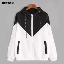 JDDTON Women's Basic Hooded Jacket Patchwork Long Sleeve Clothing Multicolor Aut