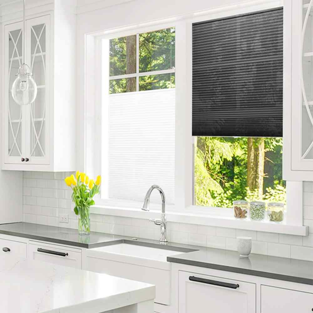 Self-Adhesive Pleated Blinds Simple Curtains Half Blackout Windows Curtains for Kitchen Bathroom Balcony Shades for Home Office