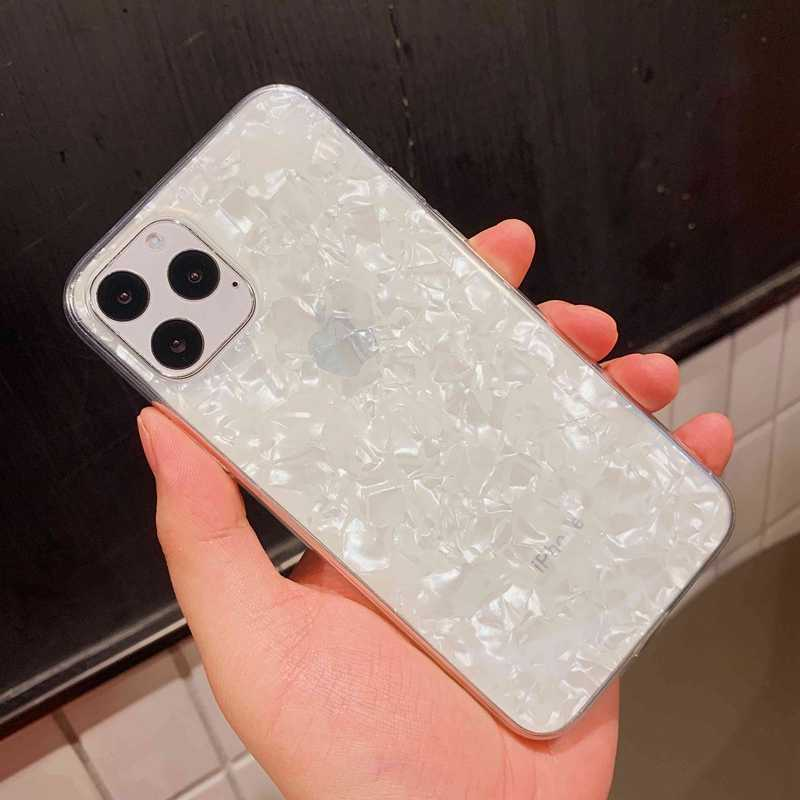 Glitter Shell Patroon Sparkle Bling Crystal Clear Zachte Tpu Case Voor Iphone Se X Xr Xs 11 Pro Max 8 7 6 6S Plus Siliconen Cover
