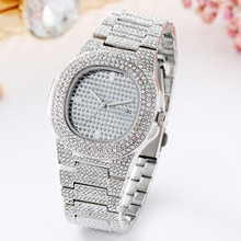 цены Ladies Casual Watches Silver Women Top Brand Luxury Full Diamond Stainless Steel Watch For Women Quartz Fashion Waterproof Clock