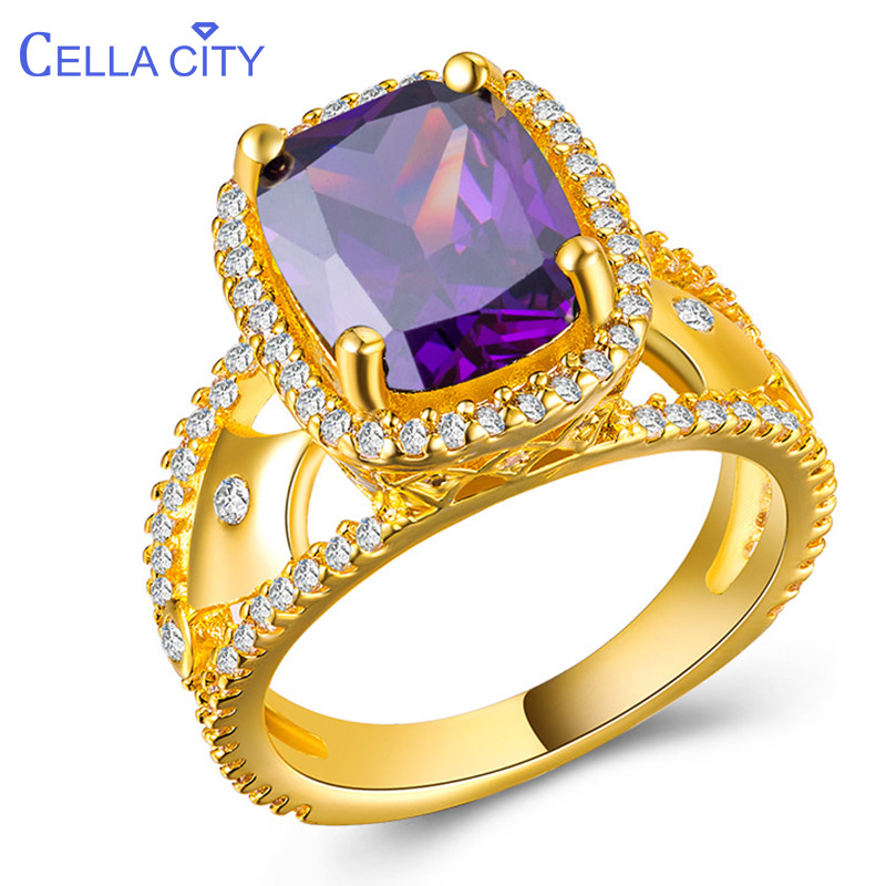 Cellacity Luxury Designer Silver 925 Ring For Women With 9*11mm Amethyst Gemstones Golden Color Silver Jewerly Women Party Gift