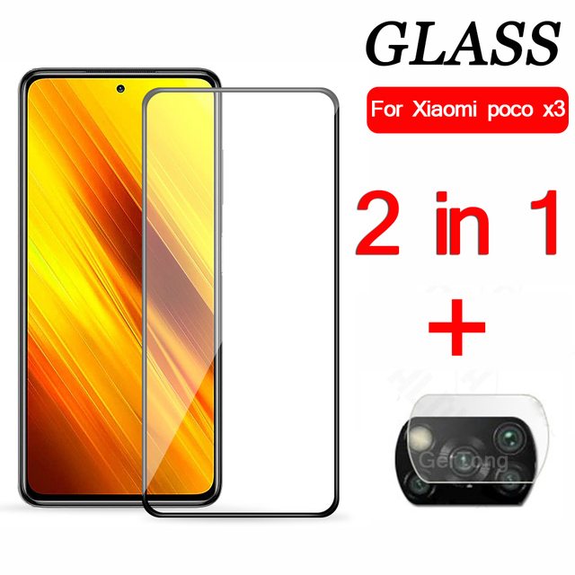 2-in-1 Camera Tempered Glass For Xiaomi Poco X3 Explosion-proof Glass For Xiaomi PocoPhone X3 Screen Protector protective Glass