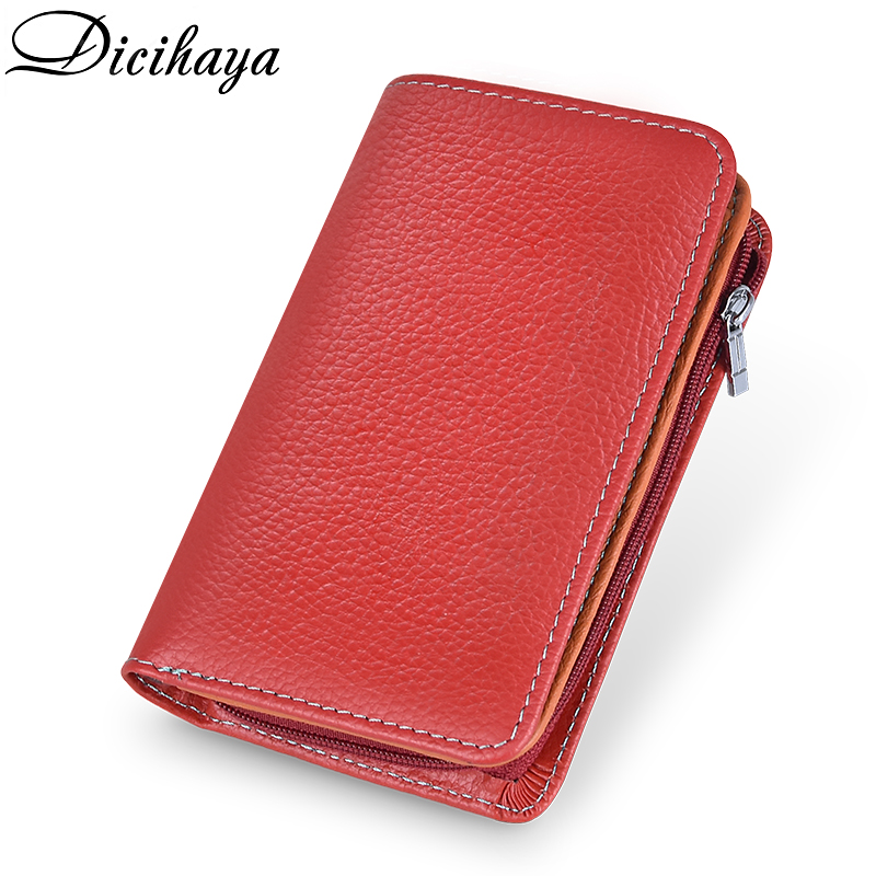 DICIHAYA Rfid Genuine Leather Women Wallet Female Portomonee Coin Purse Women Short Money Bags Designer Color Stitching Card Bag