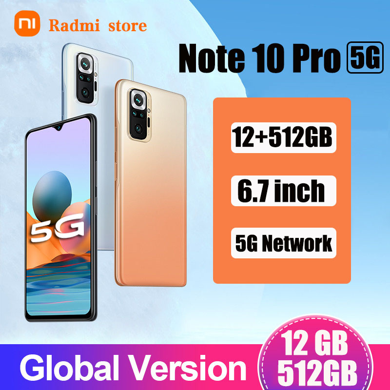 Оригинальный Radmi Примечание 10 Pro смартфонов 12 Гб + 512 ГБ android Мобильные телефоны 5G глобальная версия 6,7 HD дюймов, мобильные телефоны 5800 мач 10-яд...