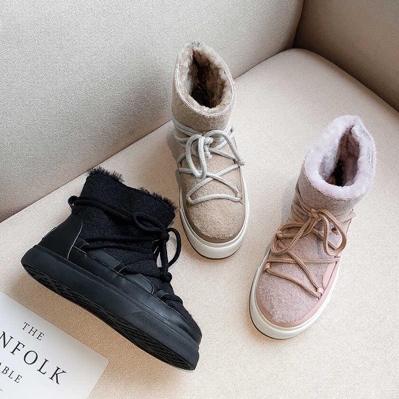 INS sıcak kadın yarım çizmeler deri kar botları artı boyutu 22-26cm inek bölünmüş deri + yün keçe kış ayakkabı kadınlar için 3 renk