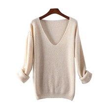 Suéter de lana merina y Cachemira para mujer, jerséis de colores puros con cuello en V, Jersey de punto para mujer de Europa y Estados Unidos 2021
