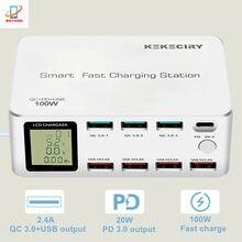 Station de Charge rapide intelligente 100W, avec écran LCD, 8 ports, Charge rapide QC 3.0 18W PD 10W, chargeur USB-C pour iPhone iPad Samsung