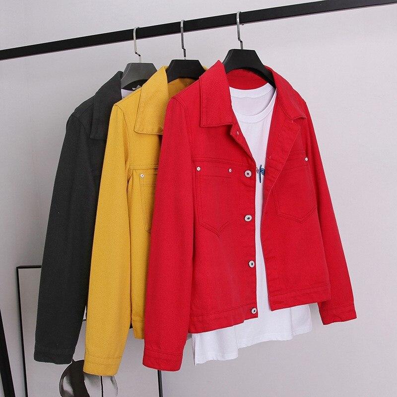 2019 Autumn Women Harajuku Denim   Jacket   Pockets Female Loose   Basic   Coat Vintage Casual Red Black Yellow Jeans   Jackets
