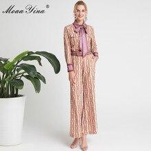 MoaaYina Fashion Designer Set Spring Women Long sleeve Stripe Print Shirt Tops+Belt Bell-bottomed pants Two-piece suit