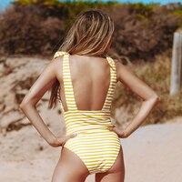 Vestido de baño monokini rayas escote V profundo sin espalda 1